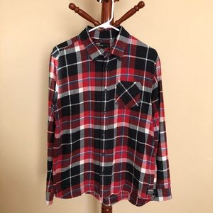 Vans Red/Black Plaid Box Flannel Button-Down Shirt